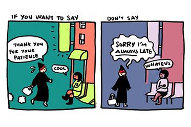 cartoon don't say sorry say thank you